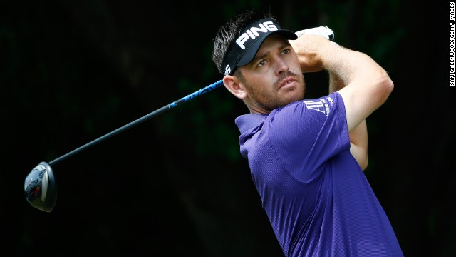 South Africa's Louis Oosthuizen plays a tee shot during the third round of the Byron Nelson Championship.