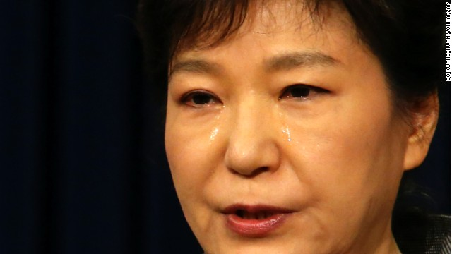 South Korean President Park Geun-hye weeps while delivering a speech to the nation about the sunken ferry Sewol at the presidential Blue House in Seoul, South Korea, on Monday, May 19.