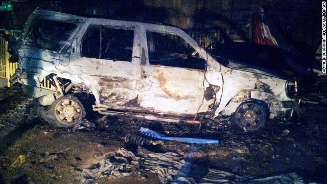 The scene of a suicide blast in the Sabon Gari neighbourhood in Kano, Nigeria, on May 18, 2014.