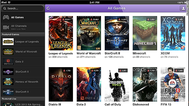 Twitch's iPad app lets users choose from a menu of popular mobile games.