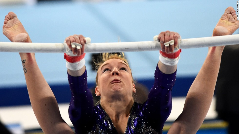 German gymnast Janine Berger performs on the uneven bars Saturday, May 17, at the European Women's Artistic Gymnastics Championships in Sofia, Bulgaria. The German team finished fourth in the team competition, which was won by Romania.