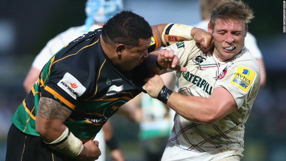 "Northampton rugby player Salesi Ma'afu, left, hits Leicester's Tom Youngs during an English Premiership semifinal match Friday, May 16, in Northampton, England. Ma'afu was sent off by the referee for the punch, but Northampton won 21-20 to book a spot in the final against Saracens. There were no hard feelings afterward: Youngs congratulated Ma'afu on Twitter and wished him well in the final, and Ma'afu responded by tweeting ""I owe you a pint."""
