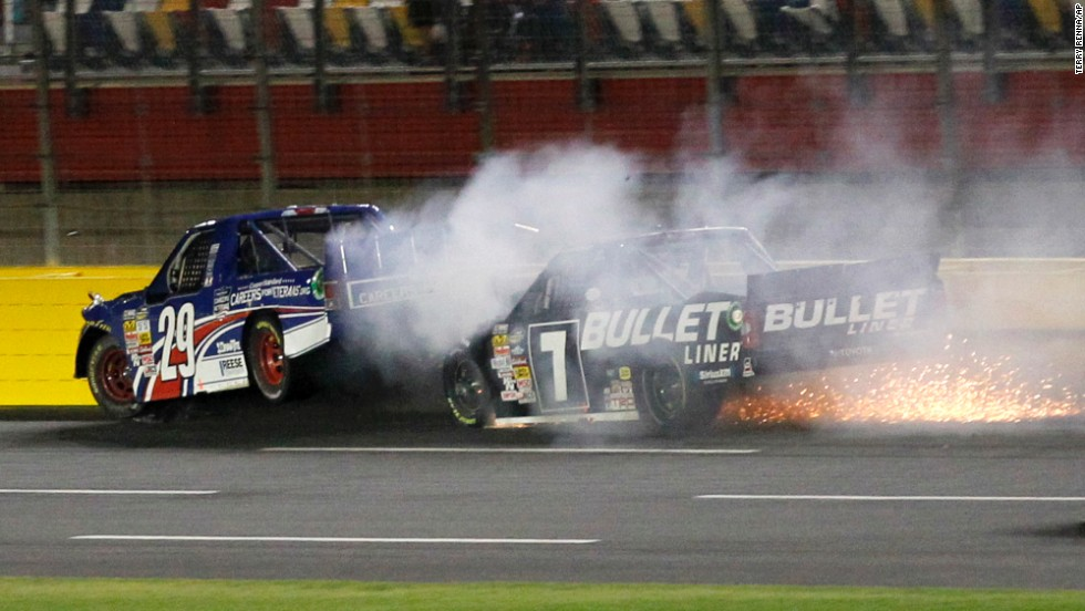 Ryan Blaney is hit from behind by Brian Ickler during the NASCAR Truck Series race Friday, May 16, at Charlotte Motor Speedway in Concord, North Carolina. The drivers were OK. Kyle Busch won the race.