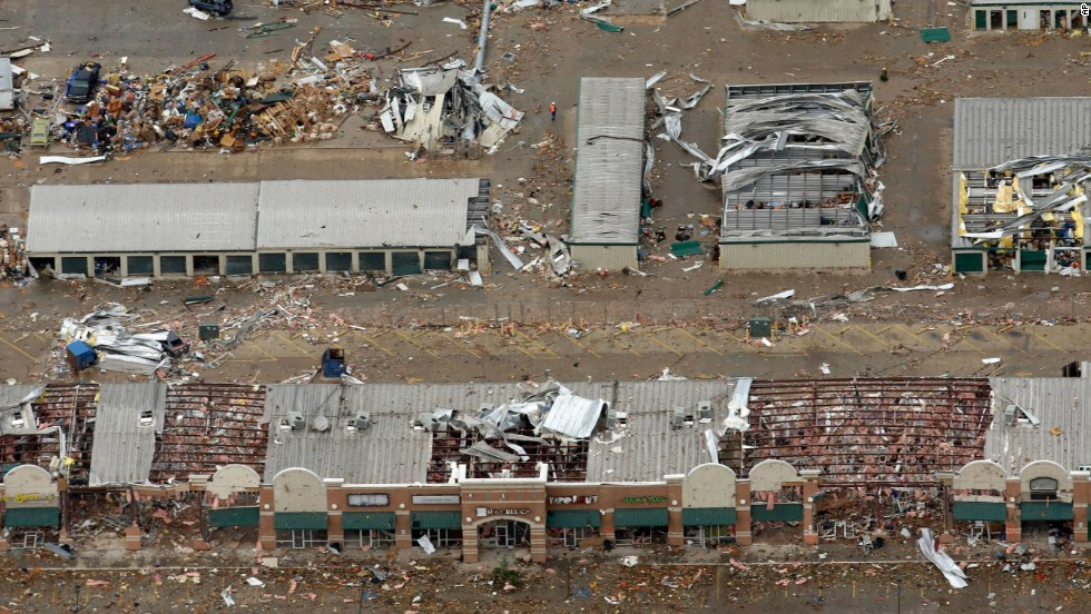 <strong>Then: </strong>An aerial view of damaged businesses on May 21, 2013