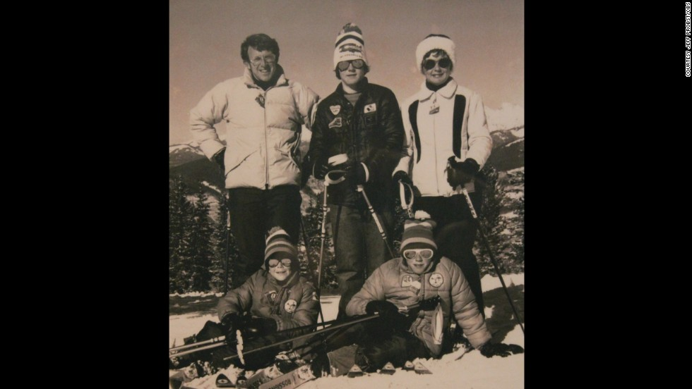 "Growing up, Probst's annual family vacation to Vail, Colorado, taught him that although family trips are a lot of work, they're ""never not worth it."" A picture from one of the Vail trips has a place of honor in Probst's office today. (Jeff is standing between his parents.)"