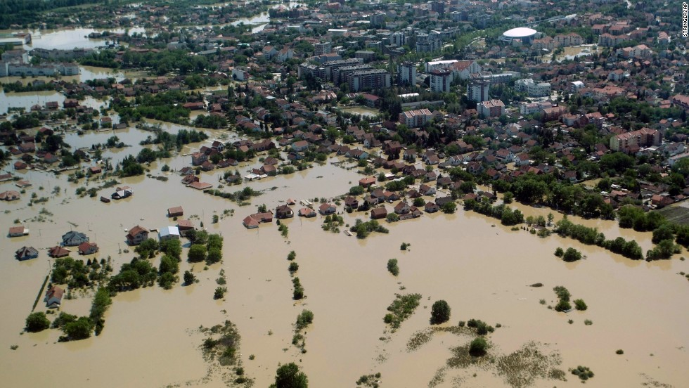 Floodwaters overtake Obrenovac, Serbia, on Monday, May 19.