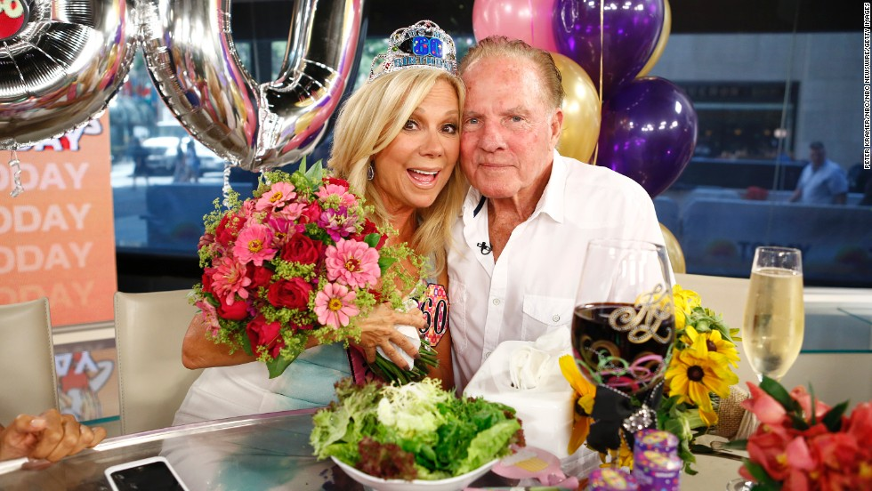 "Television personality Kathie Lee Gifford and former football player Frank Gifford have been married since 1986. In 1997, the couple's private life was thrust front and center when videotape emerged of an encounter between <a href=""http://www.people.com/people/archive/article/0,,20122296,00.html"" target=""_blank"">Frank and a flight attendant</a>."
