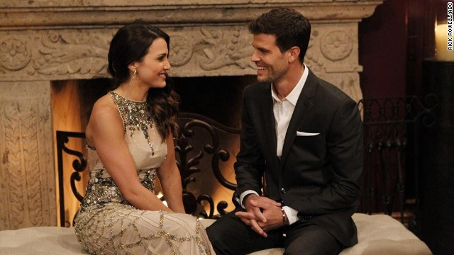 "Andi Dorfman talks with Eric Hill on the season premiere of ""The Bachelorette."""