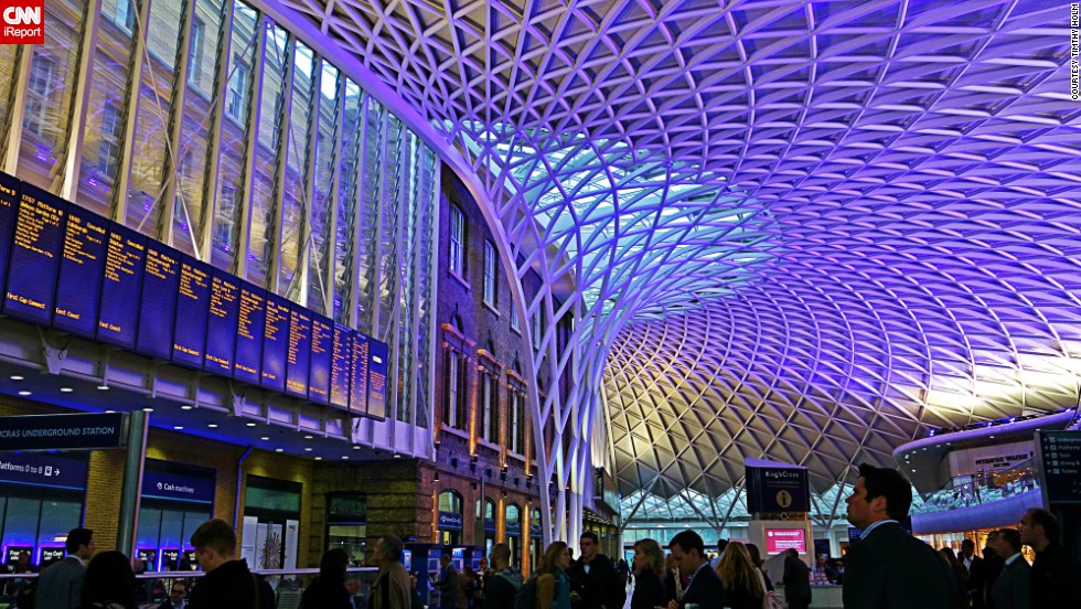 "Although London's <a href=""http://www.networkrail.co.uk/london-kings-cross-station/history/"" target=""_blank"">King's Cross</a> railway station in opened in 1852, its new 1,700-ton steel and glass dome has given it a breathtakingly futuristic edge. Many know this station as the location of the fictional ""Platform 9 3/4"" in the Harry Potter novels, like <a href=""http://ireport.cnn.com/docs/DOC-1133688"">Timothy Holm</a>, who took this photo."