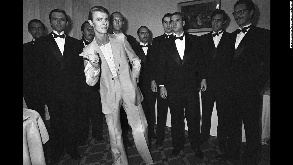 David Bowie shows his bow-tied entourage how to throw shapes during the 31th Cannes Film Festival in 1978.