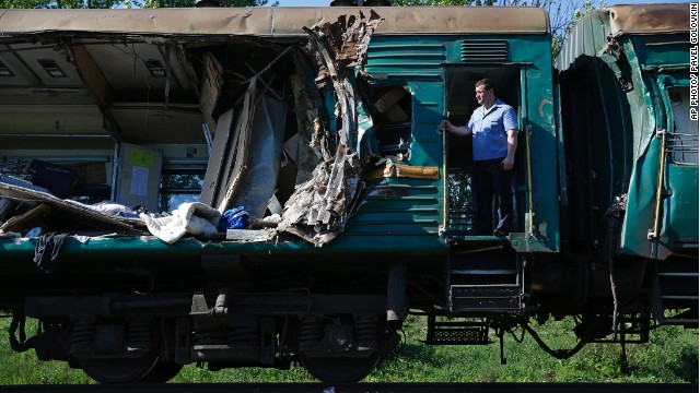 A damaged railway car at the site of train collision near the city of Naro-Fominsk on May 20, 2014.
