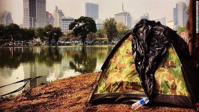 Two months ago, I visited Bangkok and Lumphini Park was a park. Now it is a full-on protest camp with its own shops and food outlets. And lots of tents. Interesting times.