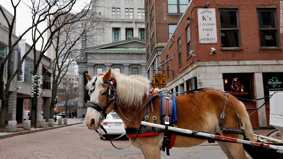 The historic tourist attraction of Boston's Faneuil Hall is at risk of coastal flooding.