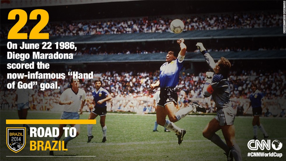 At the 1986 quarterfinals in Mexico City, Diego Maradona scored arguably the most controversial goal in football history on June 22. In the 51st minute, Argentina's captain punched the ball over goalkeeper Peter Shilton. To the dismay of the England team, Tunisian referee Ali Bennaceur allowed the goal to stand, believing Maradona had headed the ball. He then scored one of the greatest goals in World Cup history as Argentina won 2-1 and went on to lift the trophy for the second time.​