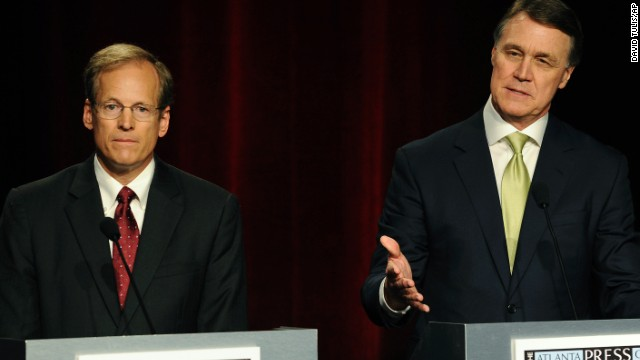 Republican Senatorial candidates Rep. Jack Kingston of Savannah, Ga., and former Dollar General CEO David Perdue, right, participate in a debate at the Georgia Public Broadcasting studio, Sunday, May 11, 2014, in Atlanta. (AP Photo/David Tulis)