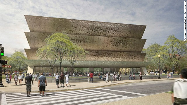 African 'starchitect' David Adjaye was tapped to design the Smithsonian National Museum of African American History and Culture in Washington, DC. The structure, which is slated for completion 2015, nods to an African aesthetic. The exterior will be made up of aluminium panels coated with bronze, and will employ techniques used by former slaves.