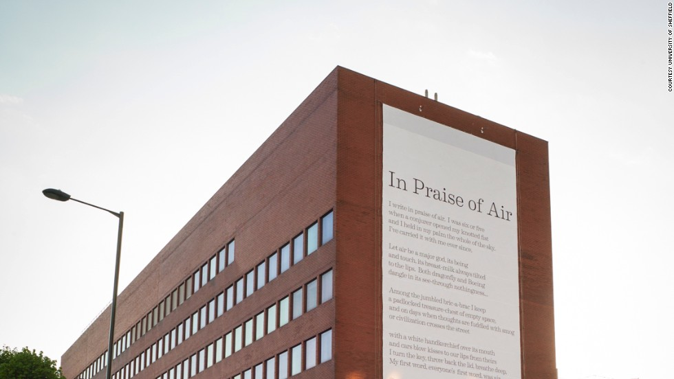 "Simon Armitage's poem ""In Praise of Air"" in Sheffield is printed on a banner coated with titanium dioxide nano-particles that can neutralize the effects of 20 cars each day."