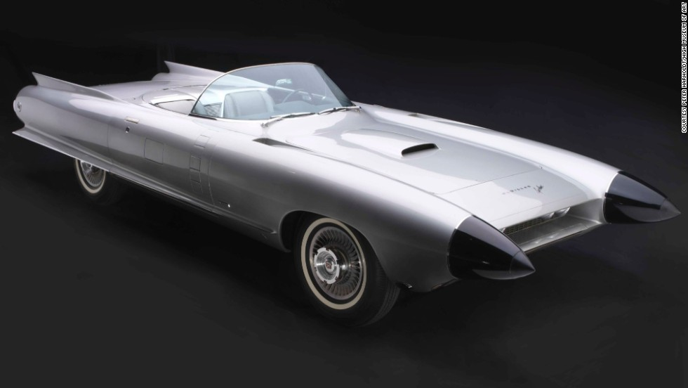 "The 1959 Cadillac Cyclone XP-74 stops you cold when you see it in person. It looks like a silver rocket from a 1950s B movie. And it has futuristic safety features too. A radar-based anti-collision system is tucked inside the Caddy's cone-shaped so-called ""dagmar"" headlights."