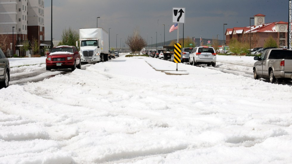 Hail piled so high it stranded drivers in Denver on May 21.