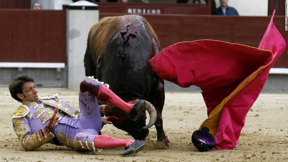 Nazare is knocked down during his fight at the San Isidro bullfighting festival.