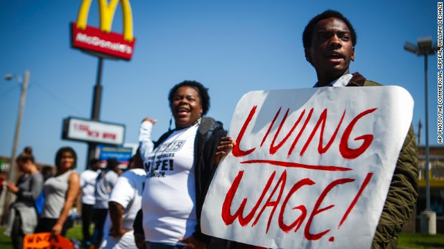 Fast food workers have been protesting for more than a year, demanding their wage be raised to a minimum of $15 an hour.