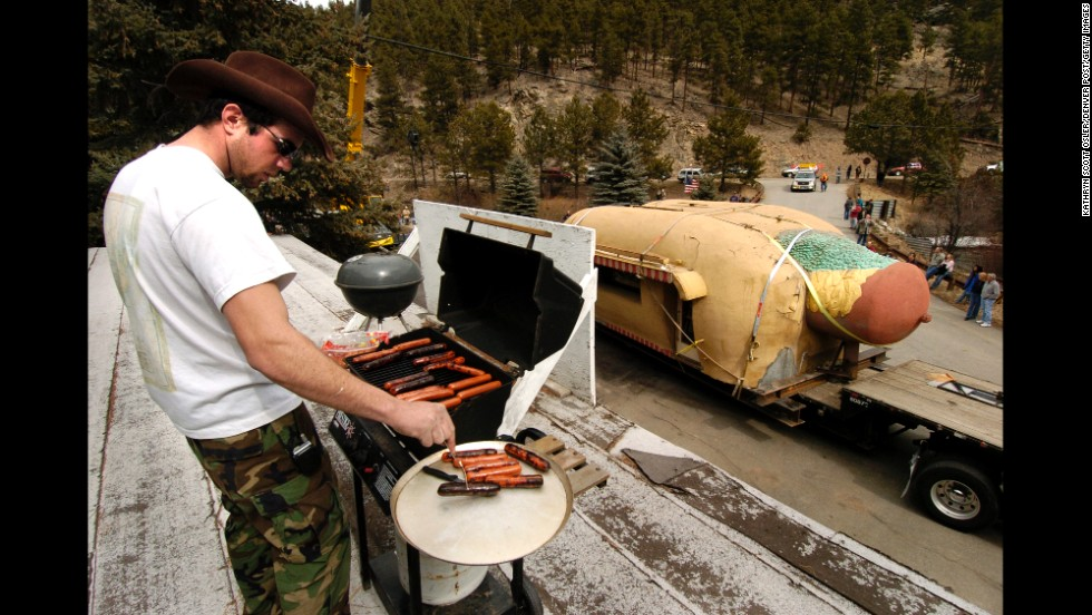 The famous Coney Island hot dog stand in Aspen Park, Colorado, moved to the town of Bailey, Colorado, in 2006.