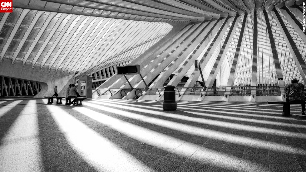 "The ultra-modern steel and glass Liege-Guillemins railway station in Liege, Belgium, was designed by Spanish architect Santiago Calatrava and opened in 2008. This photo was shot by <a href=""http://instagram.com/elephantguncollective"" target=""_blank"">Andrea Schuh</a>, a photographer in Cologne, Germany."