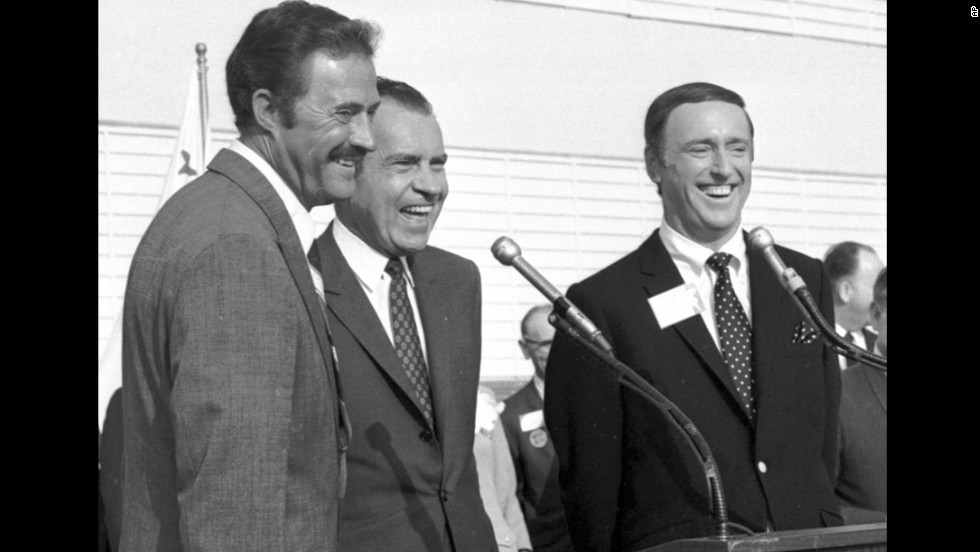"The 1968 presidential campaign went down to the wire, and little things may have made the difference -- such as Richard Nixon, the Republican candidate, going on the popular ""Rowan and Martin's Laugh-In"" <a href=""http://www.youtube.com/watch?v=8qRZvlZZ0DY"" target=""_blank"">to say one of the show's catchphrases</a>: ""Sock it to me."" Here, Nixon is flanked by Dan Rowan, left, and Dick Martin at an event in October 1968."