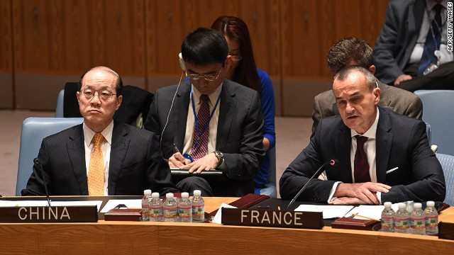 Gerard Araud (R), France's Ambassador to the United Nations, speaks during the Security Council meeting on Ukraine May 2, 2014 at UN headquarters in New York as Liu Jieyi (L), China's Ambassador to the UN, listens. AFP PHOTO/Stan HONDASTAN HONDA/AFP/Getty Images
