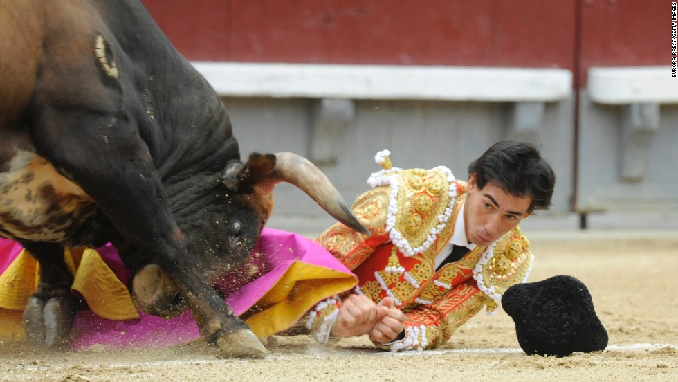 "Spanish matador Saul Jimenez Fortes is gored by a bull Tuesday, May 20, during the <a href=""http://www.cnn.com/2014/05/22/europe/gallery/san-isidro-bullfighting/index.html"">San Isidro bullfighting festival</a> in Madrid. For the first time in 35 years, the festival was suspended after Jimenez and two other matadors were injured."
