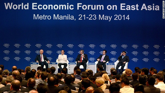 (L to R) Founder and Executive Chairman of World Economic Forum, Klaus Schwab, Philippine President Benigno Aquino, Indonesian President Susilo Bambang Yudhoyono, Prime Minister of Vietnam Nguyen tan Dung and Vice President of Myanmar U Nyan Tun attend the World Economic Forum on East Asia in Manila on May 22, 2014. The forum, focusing on the fastest-growing region of the world, needs to look at ways to make growth more equitable and sustainable to bring more people out of poverty while also finding ways to minimise environmental damage brought on by the group. AFP PHOTO/NOEL CELISNOEL CELIS/AFP/Getty Images