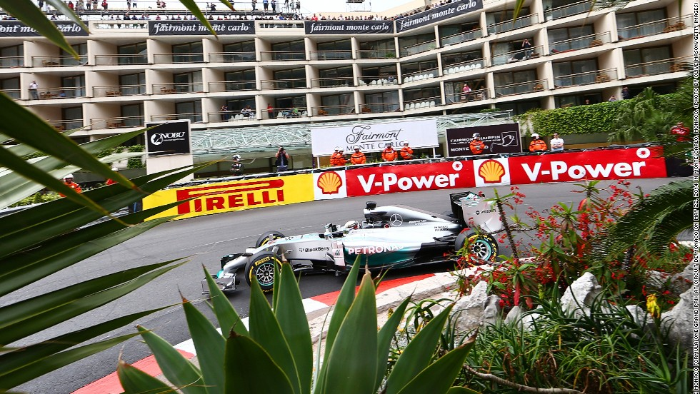 The party is held at the Fairmont hotel which sits on the famous hairpin of the Monte Carlo street circuit. Here Lewis Hamilton curves his Mercedes car past the four-star hotel during the Monaco Grand Prix.