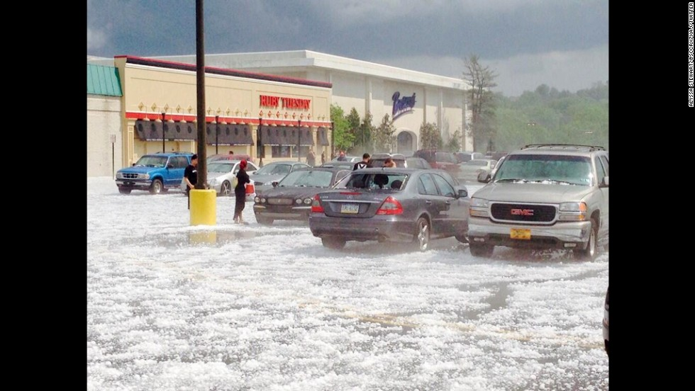 Hail covers the parking lot of Berkshire Mall in Wyomissing, Pennsylvania, on May 22.