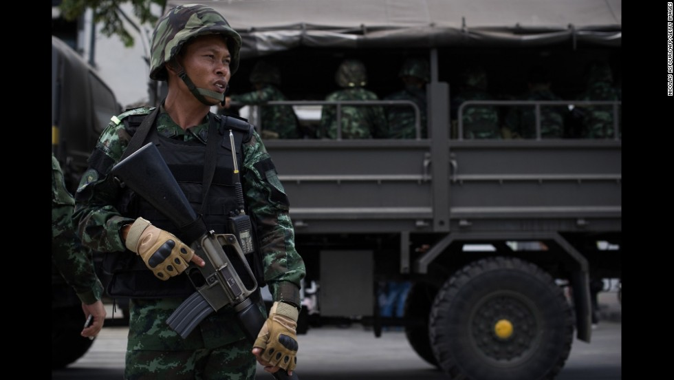 Thai soldiers patrol the streets of Bangkok on May 23.