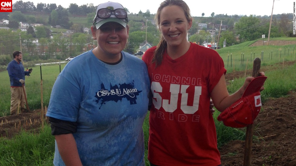 Sometimes it's better to travel with a friend. Kristin Sweetman, left, and her friend, Katie Stern, are currently volunteering their way across the country because they feel it is the best way to really get to see each state.
