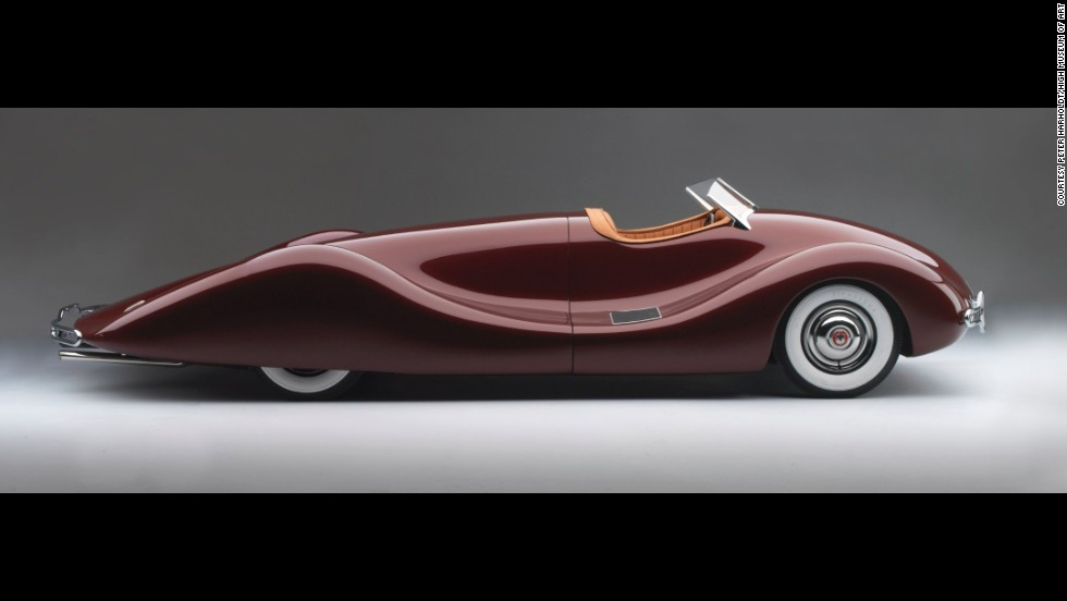 Here's what happens when a mechanical engineer designs a car. Norman Timbs created this vehicle for his personal use, the museum said. Have fun trying to get in the driver's seat. This thing has no doors. It's made from two hand-formed aluminum shapes.