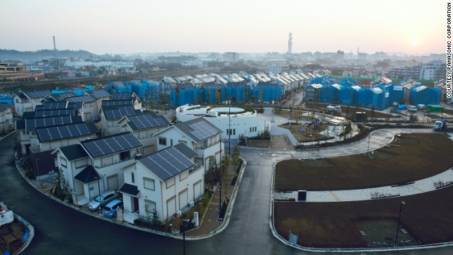 Japan's Fujisawa SST is a solar powered city built by Panasonic and designed to be shaped like a leaf.