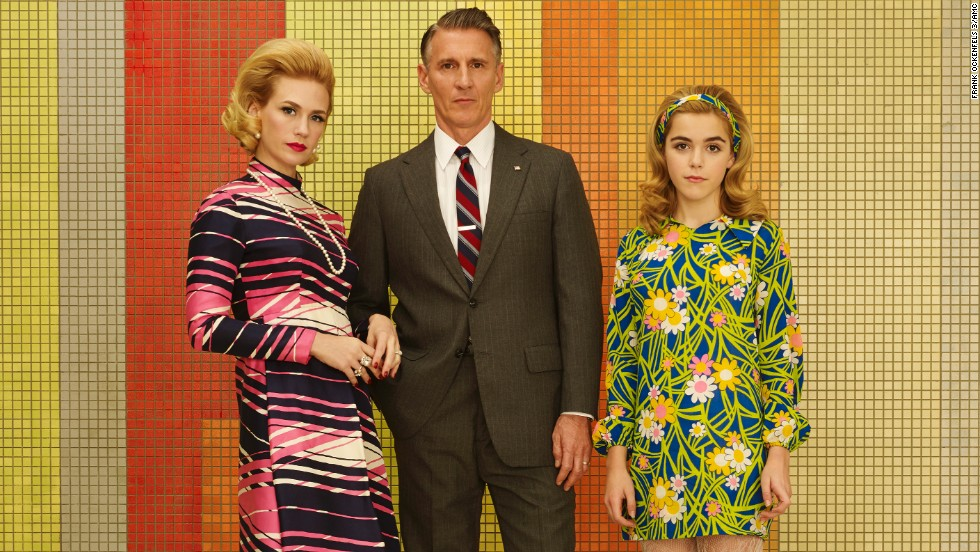 Betty Draper Francis, Henry Francis (Christopher Stanley) and Sally Draper (Kiernan Shipka) are quite the colorful family in season 7.