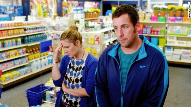 "Drew Barrymore and Adam Sandler star in the romantic comedy ""Blended."""