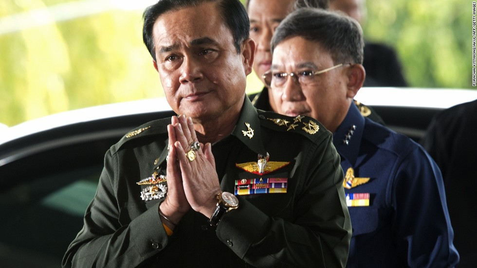 Gen. Prayuth Chan-ocha, head of the Thai military, gives a traditional greeting on May 20, the day he declared military rule over Thailand. He has assumed the powers to act as prime minister until a new one takes office, the military said.