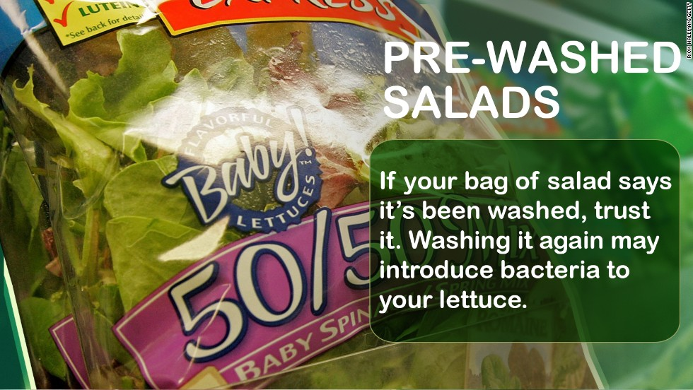 """If a bag of salad is labeled as """"washed,"""" """"triple washed"""" or """"ready-to-eat"""" it really is OK to eat as it has met labeling standards for being cleaned (unless the label says otherwise).  <br />Source: <a href=""""http://www.cdph.ca.gov/pubsforms/Guidelines/Documents/fdb%20eru%20Gde%20Recomm%20Wash%20FC%20Consumer.pdf"""" target=""""_blank"""">California Department of Public Health</a>"""