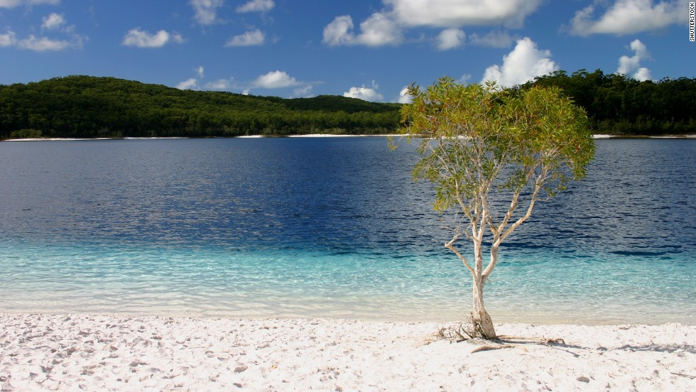 The incredible crystal blue waters and  white sand along its shores means there are no more perfect puddles on earth than Australia's Lake McKenzie.