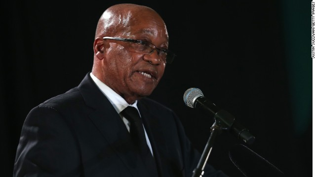 South African President Jacob Zuma speaks in December as part of the ceremonies for Nelson Mandela's funeral.