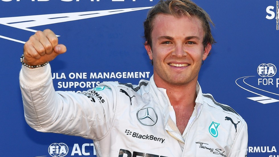 Nico Rosberg was left to celebrate his pole position for Mercedes.