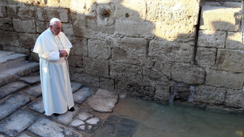 Francis prays Saturday, May 24, at Bethany Beyond the Jordan, on a tributary of the Jordan River that tradition holds is the site where Christ was baptized.