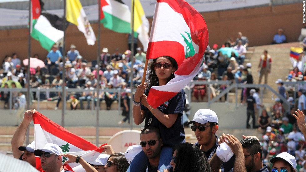 Jordanians and Christians of various nationalities and denominations congregate at Amman's International Stadium on May 24 awaiting the Pope's arrival.