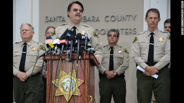 Santa Barbara County Sheriff Bill Brown speaks at a press conference regarding murder suspect Elliot Rodger, at a press conference in Goleta, California on May 24.