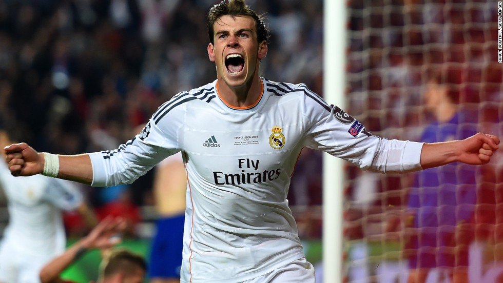 Gareth Bale celebrates his decisive goal to put Real Madrid 2-1 ahead in the final against Atletico.