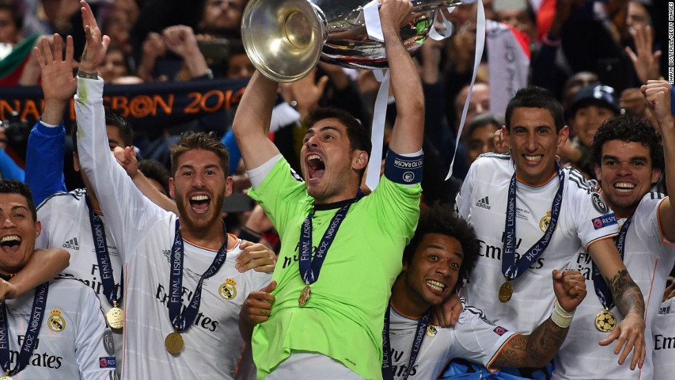Iker Casillas lifts the European Champions League trophy after Real Madrid's victory.