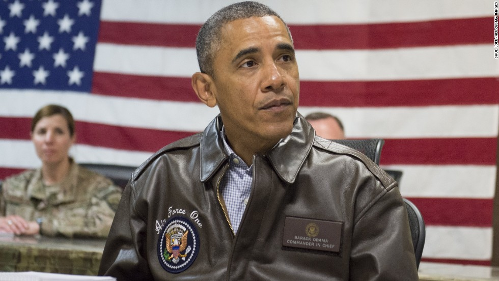 Obama attends a military briefing at Bagram Airfield.